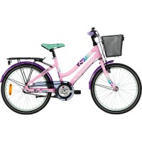 Crescent barncykel modell saga 3-vxl med fotbrom. Utrustad med långa skärmar, pakethållare, korg och dessutom en lätt alu-ram