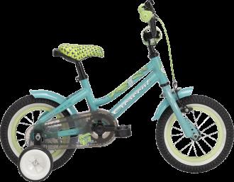 """Barncykel från Crescent med 12"""" hjul, korg,stödhjul och i två läckra färger rosa eller turkos"""